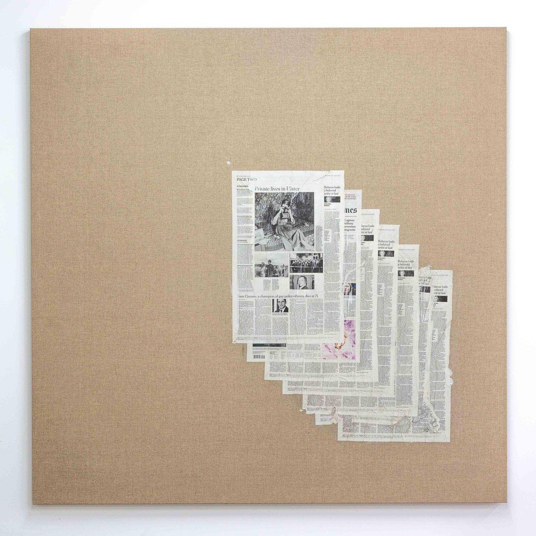 Matias Faldbakken Untitled (Canvas #106), 2015 Newspaper print on Belgian linen, wooden stretcher, 152.5 × 152.5 × 3.2 cm