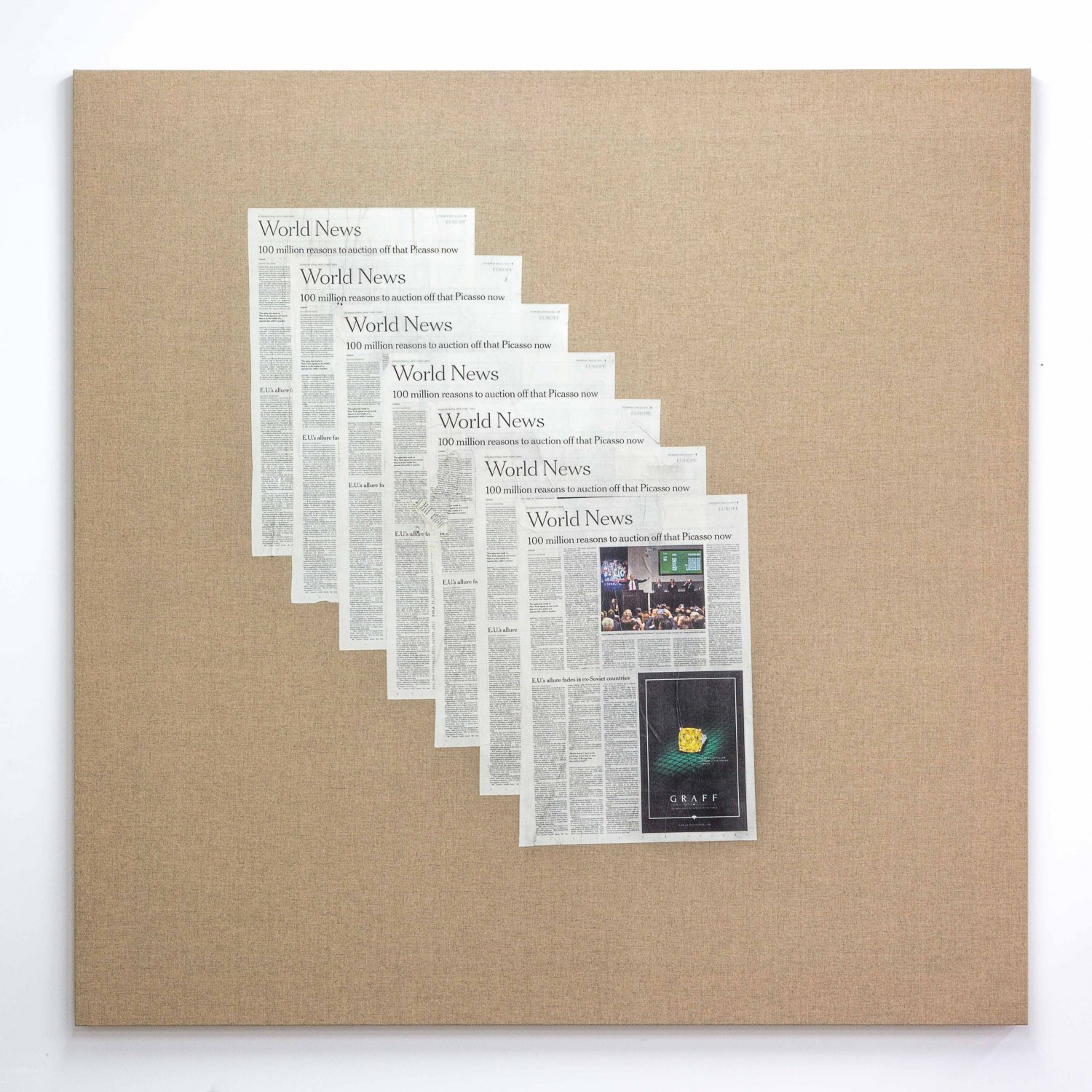 Matias Faldbakken Untitled (Canvas #107), 2015 Newspaper print on Belgian linen, wooden stretcher, 152.5 × 152.5 × 3.2 cm
