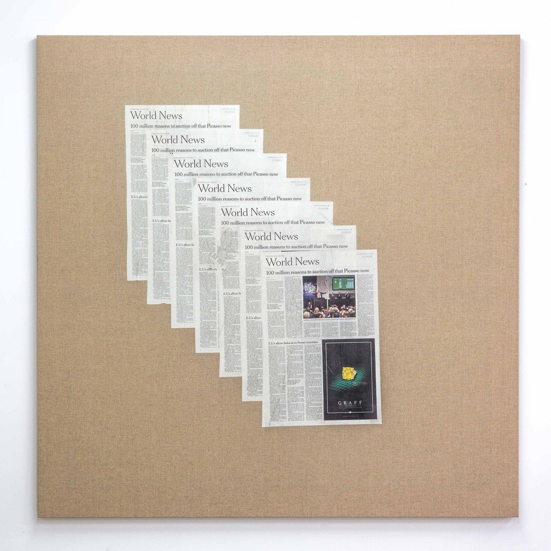 Matias Faldbakken Untitled (Canvas #107), 2015 Newspaper print on Belgian linen, wooden stretcher, 152.5 × 152.5 × 3.2 cm