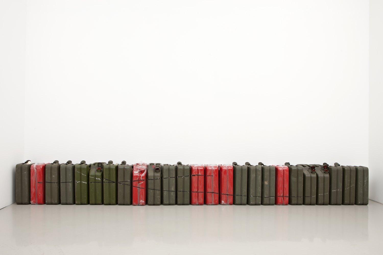 Matias Faldbakken Untitled (JERRY CAN CUT #2), 2013 25 steel jerry cans, plastic, 47 × 34.5 × 17 cmeach