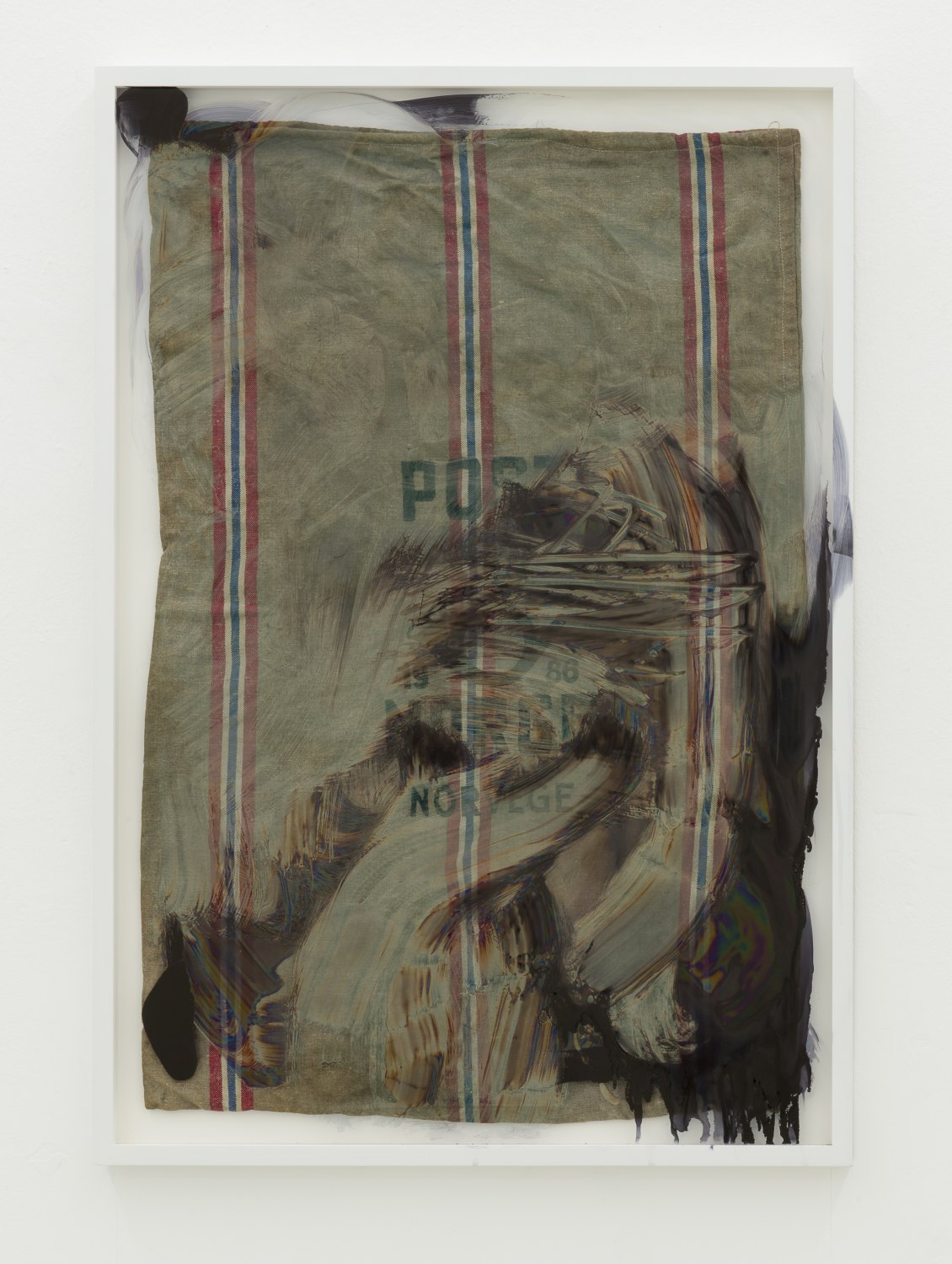 Matias Faldbakken Untitled (post bag), 2013 Canvas, frame, paint, 106.8 × 73.6 cm