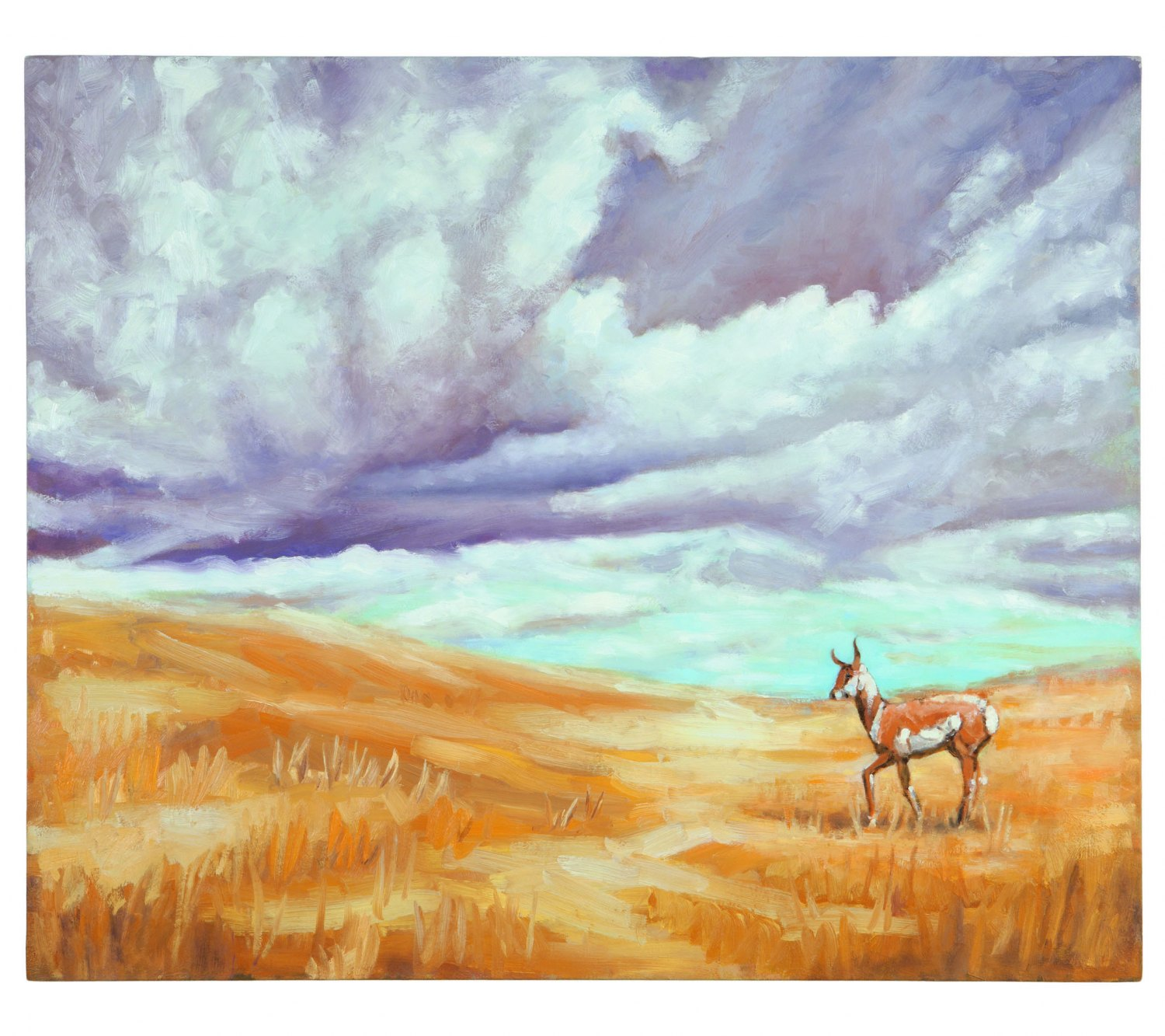 "Ull Hohn"",  In late October a pronghorn pauses briefly on a prairie, just before the wind becomes mixed with rain and snow"", 1993 Oil on canvas, 89 × 107 cm"