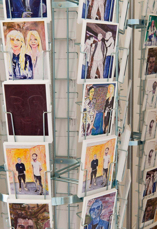 Reena Spaulings The Complete Dealers 1, 2013 (detail) Postcard rack and postcards, 180 × 40 × 40 cm