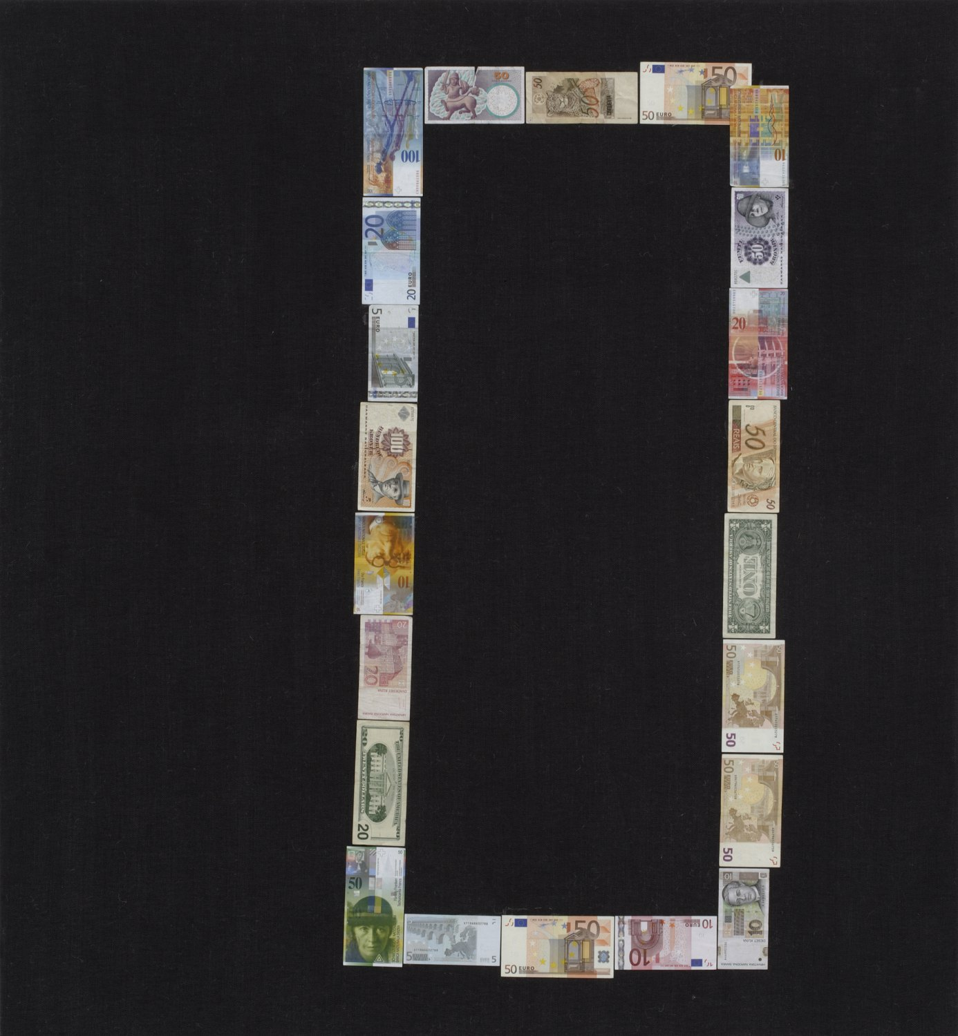 Sergej Jensen Untitled (Binary Zero), 2005 Banknotes on canvas,  130 × 120 cm